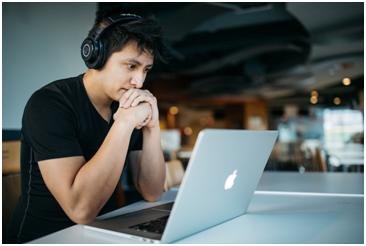An A-levels student taking an online class